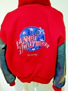 Planet Hollywood Seattle Bomber Jacket Size S Men's Red Wool And Black Leather