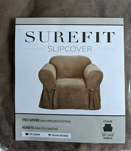 NEW Sure Fit Soft Suede 1 Piece Chair Slipcover Box Cushion sable tan washable B