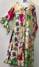Nwt FUNKY STUFF floral patch rayon ROBE TOP DUSTER COVERUP 2X 22W Free shipping
