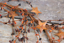 Pip Berry Garland Rusty Stars Primitive Colors Black Brown Gold 40 inch