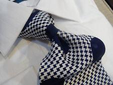 Italian Silk Tie Necktie White Navy blue houndstooth Big Polka Dot