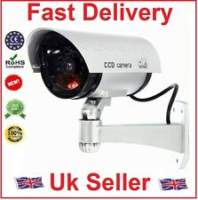 FAKE DUMMY CCTV SECURITY CAMERA SILVER FLASHING LED INDOOR OUTDOOR SURVEILLANCE