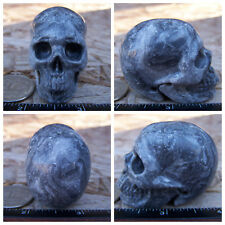 "2.0"" Chinese Crazy Lace Skull Carved Stone 3.3oz 92.7g Crystal Healing Realistic"