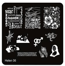 Stamping Schablone  Schrift  Fullcover Blumen Blüten Pfaufeder HELEN 06