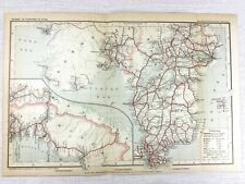 1902 Antique Railway Map of Sweden Norway Stockholm Swedish Railroads Routes