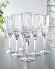 Dinner Table Vintage Design Crystal Champagne Flutes Wine Glasses Set 6 185 ml