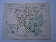 Carte 19° 1852  couleur atlas Malte brun Département de la Creuse Plan de Guéret