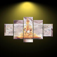 5 Pcs Unframed Canvas Print Paintings Buddha Picture Home Bedroom Wall Art Decor