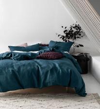Linen House Nimes 100 Linen Quilt Duvet Doona Sets | 12 Colours King Teal