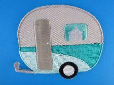 Caravan Iron On Patch Campervan Aqua Mint Silver 50s PinUp Rockabilly Vintage