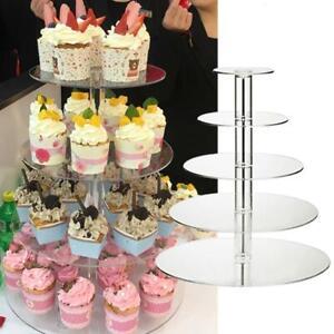 3/4/5 Tier Acrylic Wedding Cake Stand Crystal Display Shelf Holder Plate NEW