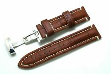 22mm Brown Leather Contrast Stitch Men's Watch Strap Steel Butterfly Clasp