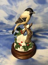 "As Is Andrea by Sadek ""Chickadee w/ Holly"" Bird Figurine Snow #7843 on Base"