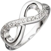 Ring Damenring Unendlichkeit 925 Sterling Silber rhodiniert mit Zirkonia weiß
