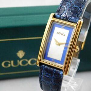 GUCCI 2600L WOMEN'S BLUE GOLD VINTAGE SWISS MADE WATCH QUARTZ WITH BOX