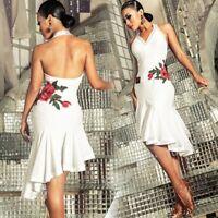 Women Floral Backless Latin Competition Dance Dress Rumba Samba Cha Cha Ballroom