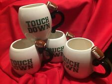 """Football Coffee 4-Cup Set of Ceramic 16-Ounce Mugs, """"Touch Down"""" Printed, Mint"""