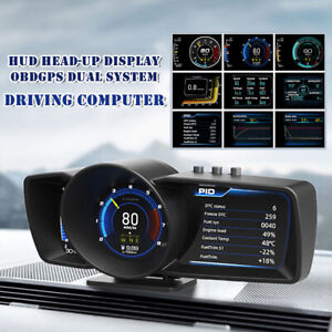 HUD Head-up Display OBD GPS OBD2 Dual System Driving Computer Modified LCD Code