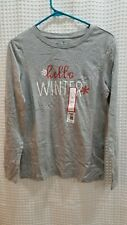 Hello Winter Womens Long Sleeve T Shirt Grey Snowflakes Size Small NWT