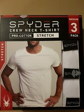 b2008c9753df51 Spyder 3 Pack Crew Neck T Shirts Stretch Cotton White Mens Lot Under Shirt M