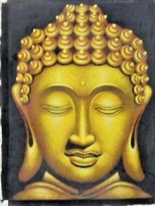 FINE ART BUDDHA PORTRAIT IN GOLD ORIG CANVAS  WATER COLOR PAINTING UNFRAMED