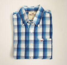 Hollister Mens Plaid Button Down Shirt Size Large Blue & White