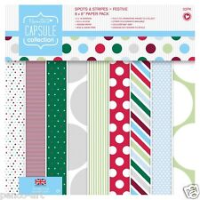 """32 papers Papermania 8x8"""" 160gsm capsule paper Christmas FESTIVE spots & stripes"""