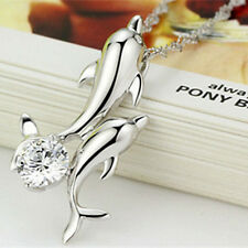Silver Plated Double Dolphin Rhinestone Short Chain Pendant Necklace Jewelry