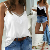 Womens Summer Lace Vest Sleeveless Blouse Casual Tank Tops Camisole T-Shirt Plus