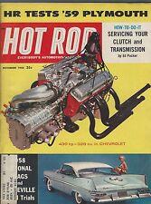 HOT ROD Magazine / November 1958 / '59 Plymouth / '59 National Drags & Bonnevill