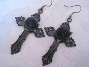 LARGE JET BLACK CROSS Black Rose Gothic Drop Earrings Dita Ornate Halloween