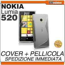 COVER per NOKIA LUMIA 520 TRASPARENTE SLINE + PELLICOLA COVER SILICONE CASE