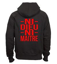 Sweat shirt à capuche noir homme Fruit of the loom NI DIEU NI MAITRE rouge