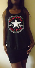 CONVERSE ALLSTAR BLACK T-Shirt Vest Tank Top TOP Ladies Women Girls New TSHIRT