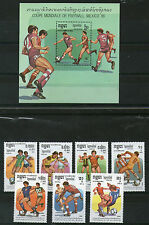 KAMPUCHEA FOOTBALL WORLD CUP MEXICO 1986 SET & MINIATURE SHEET MNH
