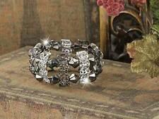 Filigree Bracelet Silver Plated And Gun Metal Scalloped Bars Stretch Bracelet