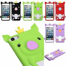 For iPod Touch 5th 6th 7th Gen - Soft Silicone Rubber Skin Case Cover Crown Pig