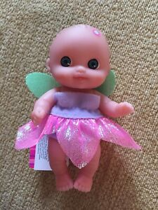 """Lil Cutesies 5.5"""" Vinyl Baby Doll In Pink Fairy Outfit. New With Tags."""