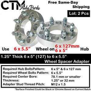 """2PC 1.25"""" THICK 6x5 to 6x5.5 WHEEL ADAPTER SPACER FIT CHEVY/GMC/SAAB/BUICK MODEL"""