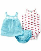 NWT CARTER'S GIRLS 3PC BLUE/PINK WHALE COTTON TOP DIAPER COVER BODYSUIT 3M & 6M
