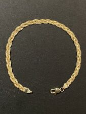 """Real Solid 14K Yellow Gold Ladies Woven Braided Fox Tail Wheat Bracelet 7"""" 4mm"""