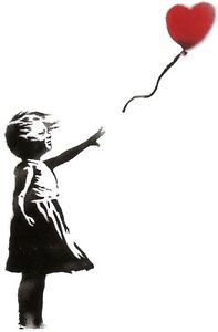 Banksy - Girl with a Balloon (V.3) - 50 x 65 cm. Arches Paper - Printed Signatur