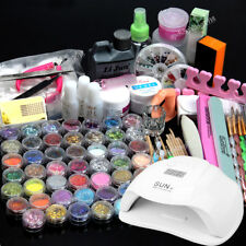 48 Acrylic Powder Liquid Nail Art Care kit + 54W LED Nail Lamp Glitter Tips SET