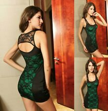Sexy Black Lace Green Dance Party Club Cocktail Formal Dress Race New Sz M 10 12