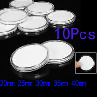 10pc Clear Coins Storage Case Round Capsules Box For Collection Supplies 20-40mm