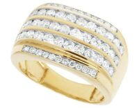 Men's 14K Yellow Gold Over Diamond Channel Wedding Pinky Ring Band 2 1/3 CT 14MM