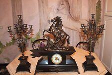 pendule bronze chevaux de Marly signé Coustou 19 éme siècle 1878 + 2 candélabres