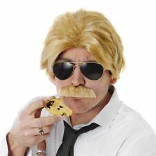 Men's Blonde Cop Wig & Tash Moustache 70's 80's Fancy Dress Costume Accessory