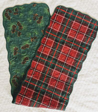 """Christmas Table Runner Reversible Plaid Pinecones scallop edge scroll stitch 54"""""""