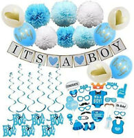 IT'S A BOY Baby Shower Decorations Banner, Latex Balloons, Photo Prop, PomPoms
